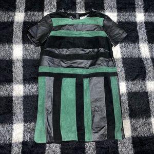 ASOS real leather colorblock stripe shirt dress 12